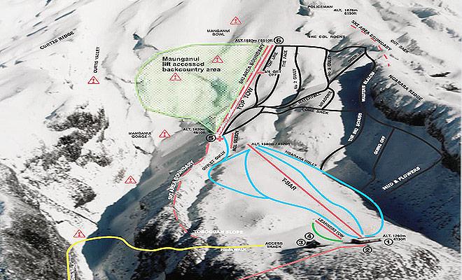 El mapa de las laderas del Mont Taranaki le ayudará a elegir los descensos adaptados a su nivel de esquí.