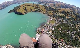 Uitzicht op de lucht, het schiereiland biedt een schitterend spektakel. Om te vliegen moet je beginnen vanuit een van de heuvels die de baai omringen.