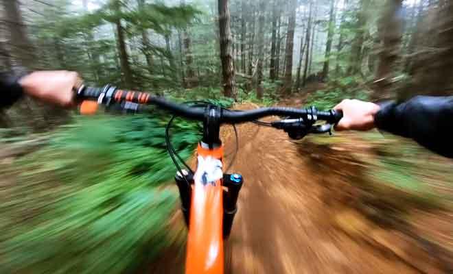 Descente en vélo dans la Hanmer Forest.
