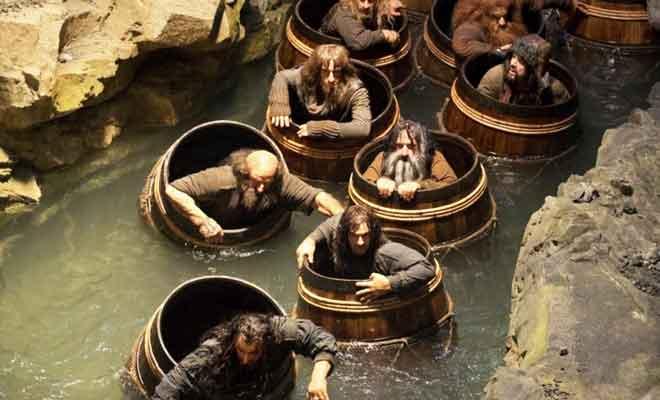 L'évasion en tonneau dans la trilogie du Hobbit